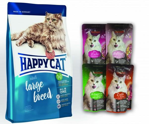Happy Cat Adult Large Breed + 4 x 85 gr. Leonardo Nassfutter sortiert im Frischebeutel *Gratis*