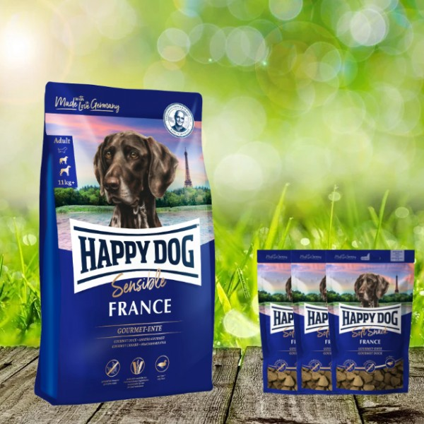 Happy Dog Supreme France 12,5 kg + 3 x 100 g. Happy Dog Soft Snack France geschenkt