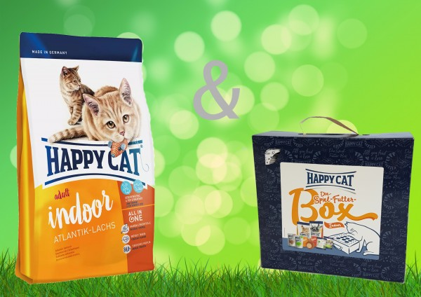 Happy Cat Atlantik Lachs Indoor 10 kg + Spiel-Futter-Box Indoor
