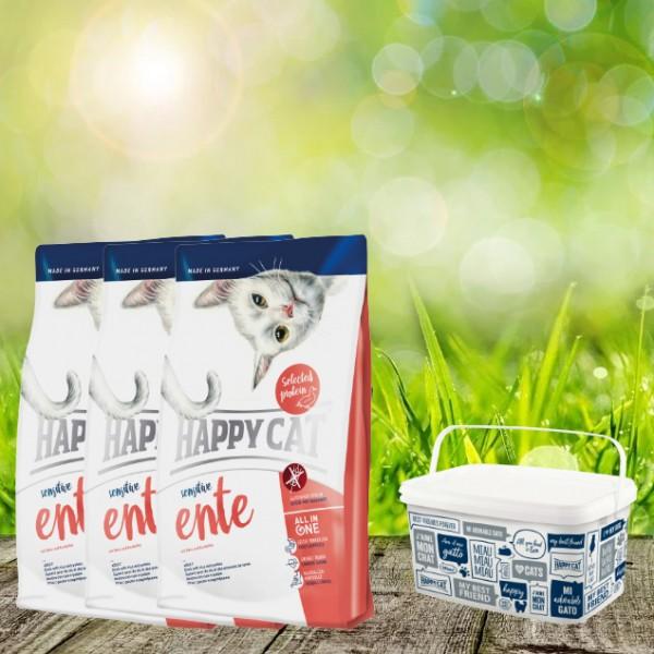 Happy Cat Sensitive Glutenfrei Ente 3 x 4 Kg + Happy Cat-Dog Futtereimer 6,2Liter