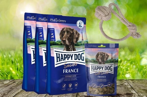 Happy Dog Supreme France 3 x 4 kg + 1 x 100 g. Happy Dog Soft Snack France + Hundewurfball geschenkt