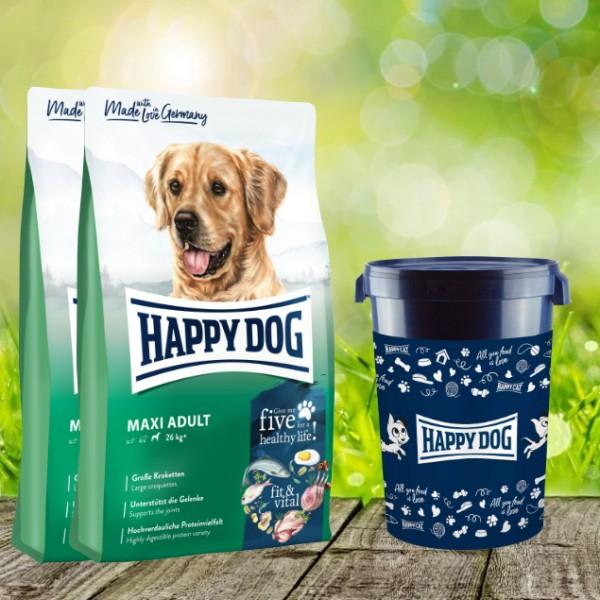 Happy Dog Fit & Vital Maxi Adult 2 x 14 kg plus Futtertonne 43 Liter