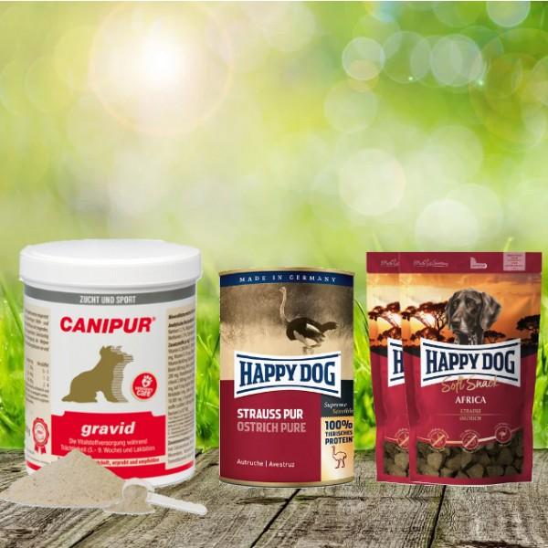 Canipur gravid 500 g + 2 HD Soft Snack Afrika + 1 HD Strauß pur 400 g