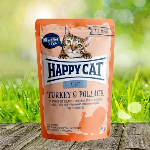 Happy Cat Pouches - All Meat - Pouch Adult Truthahn & Seelachs 24 x 85 gr.