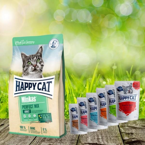 Aktion * Happy Cat Minkas Perfect Mix Geflügel, Fisch & Lamm 10 kg und 6 x 85 gr. Pouches Happy Cat