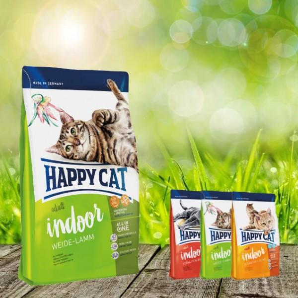 Happy Cat INDOOR Weide Lamm 10 kg + 3 x 300 gr. Probierbox sortiert