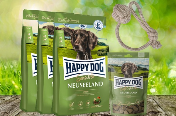 Happy Dog Supreme Neuseeland 3 x 4 kg + 1 x 100 g. Happy Dog Soft Snack Neuseeland+ Hundewurfball ge