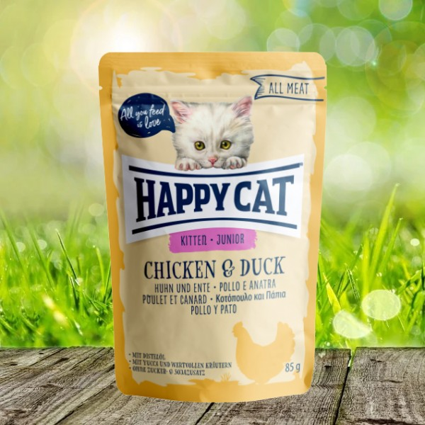 Happy Cat Pouches - All Meat - Pouch Junior Huhn & Ente 24 x 85 gr.