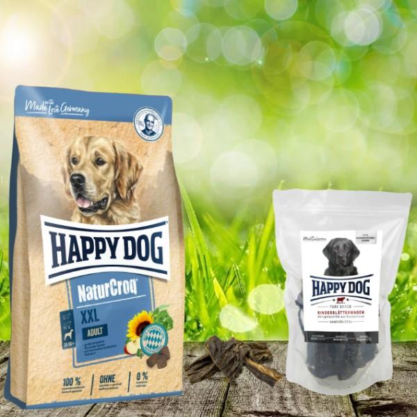 Happy Dog Premium NaturCroq XXL 15 kg + HD Rinderblättermagen 500 g