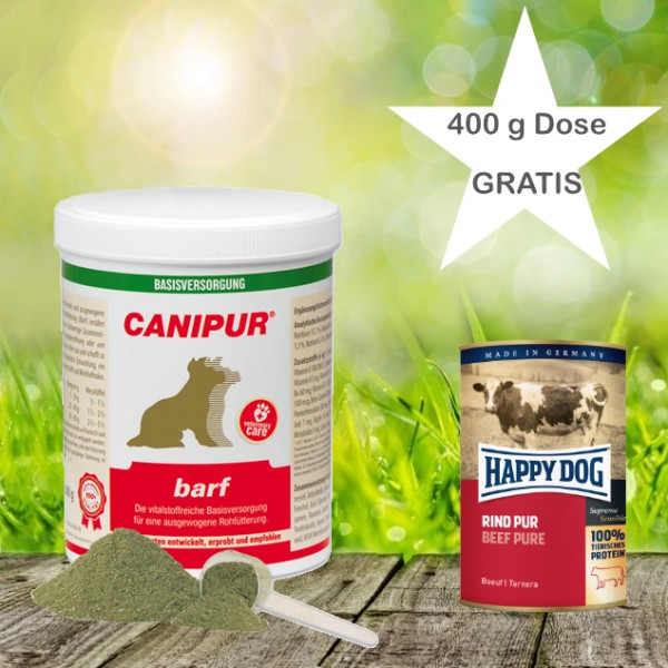 Canipur barf 500 g + 400g Happy Dog Pur Dose *Gratis*