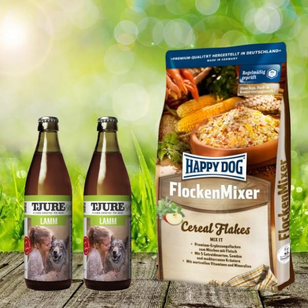 Happy Dog Flocken Mixer 10 kg + 2 x 0,32 l Tjure Lamm&Reis