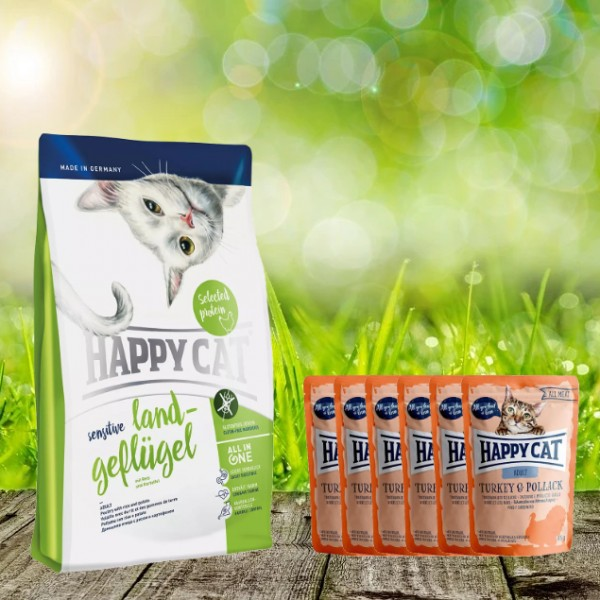 Aktion * Happy Cat Sensitive Land Geflügel 4 kg und 6 x 85 gr. All Meat Pouches Truthahn und Seelach