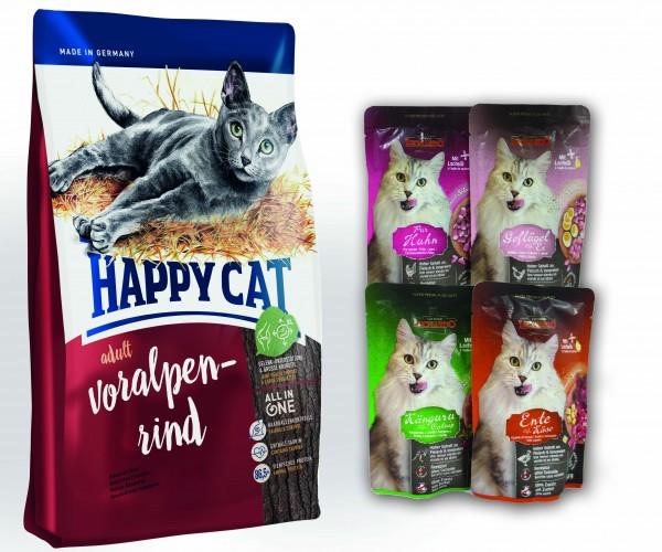 Happy Cat Adult Voralpen Rind + 4 x 85 gr. Leonardo Nassfutter sortiert im Frischebeutel *Gratis*