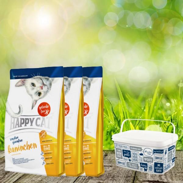 Happy Cat Sensitive Grainfree Kaninchen 3 x 4 Kg + Happy Cat-Dog Futtereimer 6,2 Liter