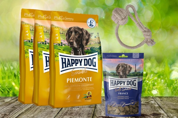 Happy Dog Supreme Piemonte 3 x 4 kg + 1 x 100 g. Soft Snack France + Hundewurfball geschenkt