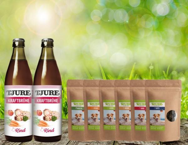 Tjure Kraftbrühe Rind für Hunde und Katzen Doppelpack Plus Fleisch Snack 6 x 150 Gramm Sortiert
