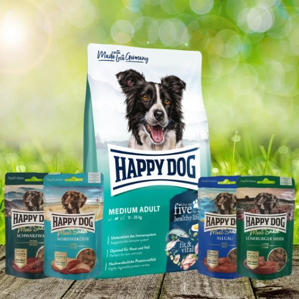 Happy Dog Fit & Vital Medium Adult 12 kg + Meat Snack 4 x 75 g sortiert