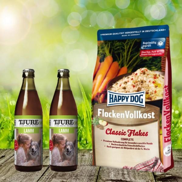 Happy Dog Flocken Vollkost 10 kg + 2 x 0,32 l Tjure Lamm&Reis