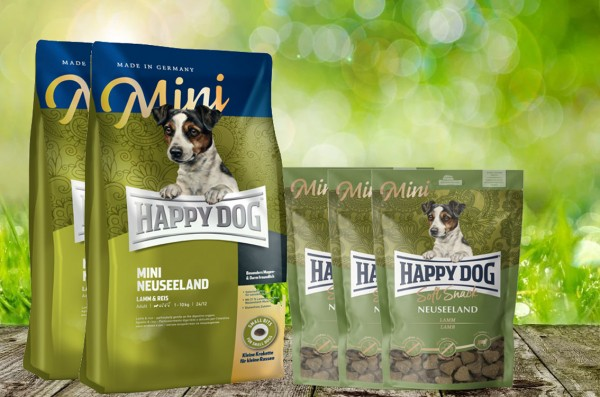 8 kg Happy Dog Supreme MINI Neuseeland 2 x 4 kg + 3 x 100 g. Happy Dog Soft Snack MINI Neuseeland ge
