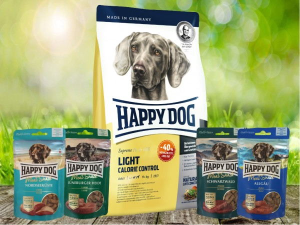 Happy Dog Fit & Well Light Control 12,5 kg + Meat Snack 4 x 75 g sortiert