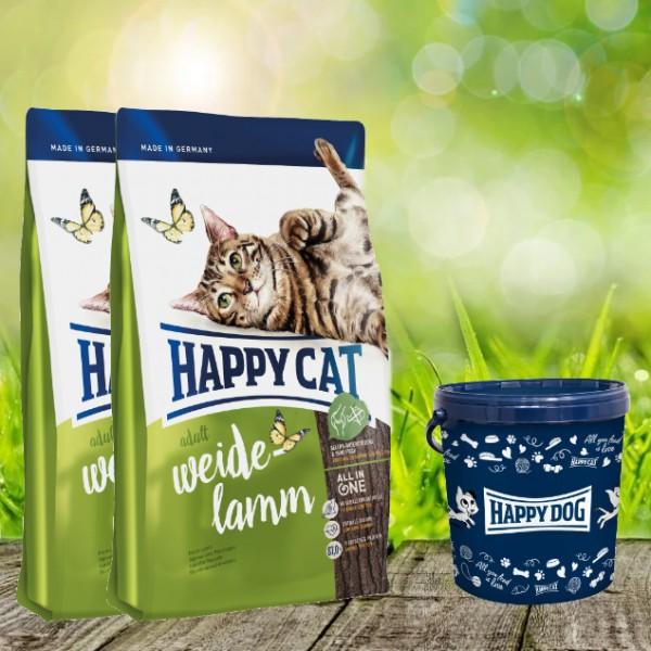 Happy Cat Supreme Adult Weide-Lamm 2 x 10 kg + Happy Cat Futtertonne 20 Liter