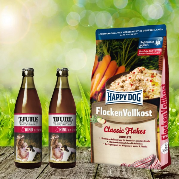 Happy Dog Flocken Vollkost 10 kg + 2 x 0,32 l Tjure Rind&Kartoffel