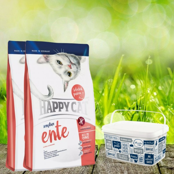 Happy Cat Sensitive Glutenfrei in verschiedenen Sorten 2 x 4 Kg + Happy Cat-Dog Futtereimer 6,2 Lite
