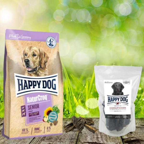 Happy Dog Premium NaturCroq Senior 15 kg + HD Rinderblättermagen 500 g