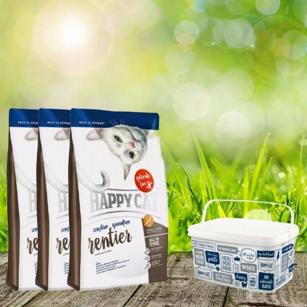 Happy Cat Sensitive Grainfree Rentier 3 x 4 Kg + Happy Cat-Dog Futtereimer 6,2 Liter