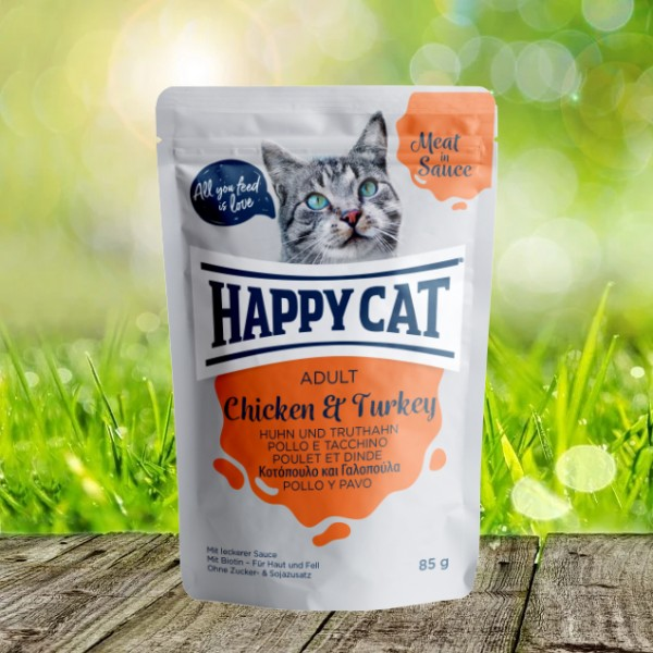Happy Cat Pouches - Meat in Sauce - Pouch Adult Huhn & Truthahn 24 x 85 gr.