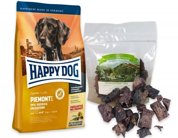 Pferdelungenwürfel 2 x 100 gr. + Happy Dog Sens. Supreme PIEMONTE 10 kg