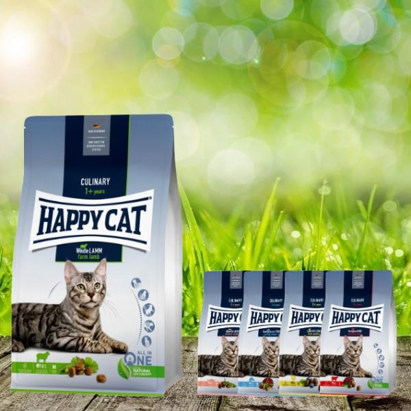 Happy Cat Culinary Adult Weide-Lamm 10 kg + 4 x 300 Gramm Probierbox