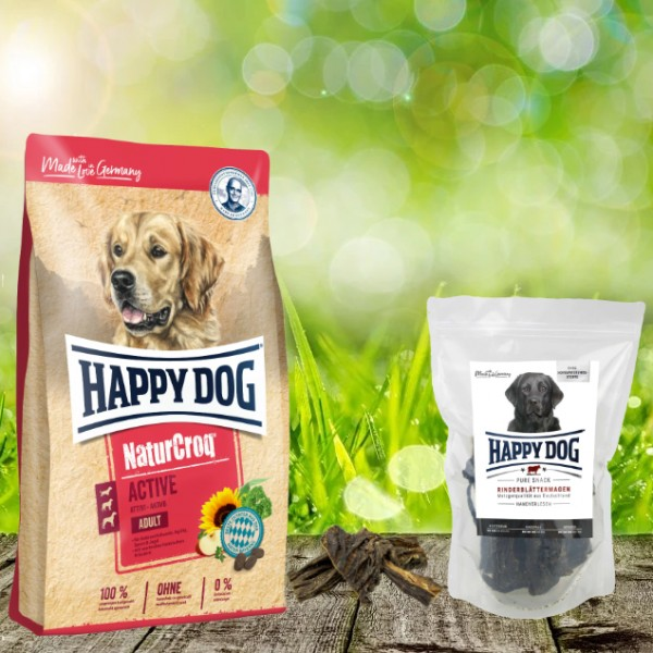 Happy Dog Premium NaturCroq Active 15 kg + HD Rinderblättermagen 500 g