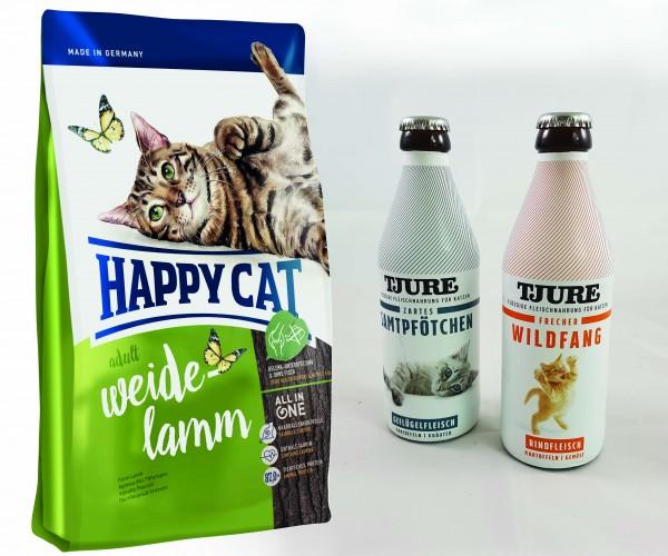Happy Cat Adult Weide Lamm 10 kg + TJURE für Katzen - Doppelpack Zartes Samtpfötchen & Frecher Wildf