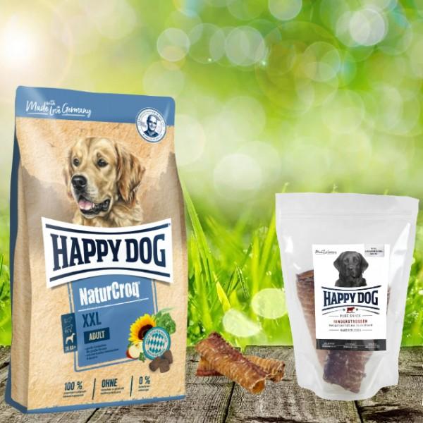 Happy Dog Premium NaturCroq XXL 15 kg + HD Rinderstrossen 500 g