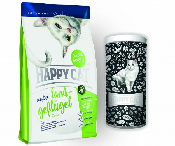 Happy Cat Sensitive Glutenfrei in verschiedenen Sorten 2 x 4 Kg + Happy Cat Vorratdose
