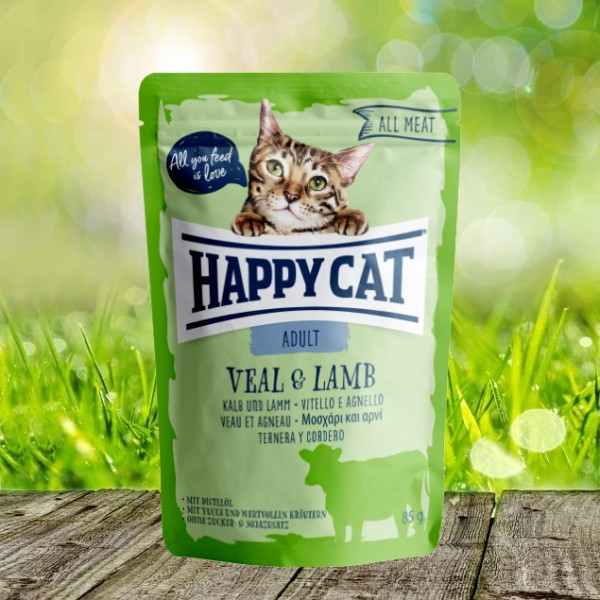 Happy Cat Pouches - All Meat - Pouch Adult Kalb & Lamm 24 x 85 gr.