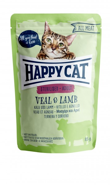 Happy Cat Pouches - All Meat - Pouch Adult Sterilised Kalb & Lamm 24 x 85 gr.
