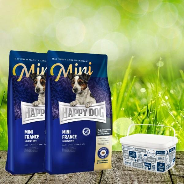Happy Dog Sensible MINI France 2 x 4 kg und Futtereimer Happy Dog in 6,2 Liter
