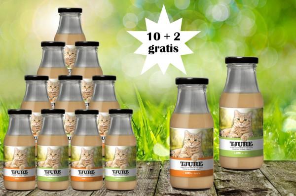 TJURE für Katze - Mixpaket Lamm & Reis + Rind & Kartoffel 10 + 2 GRATIS