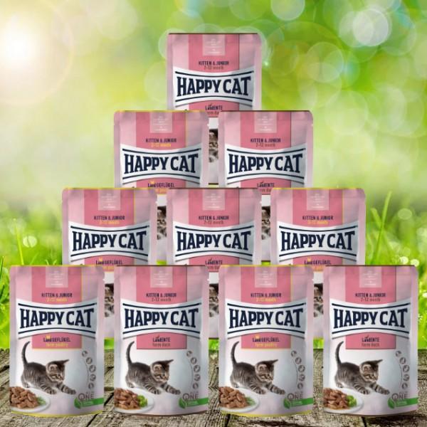 Happy Cat Meat in Sauce Pouches Kitten & Junior 24 x 85 Gramm