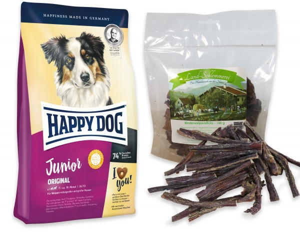 Welpensticks Rinderdörrfleisch 150 gr. + Happy Dog Young Junior Original 10 kg