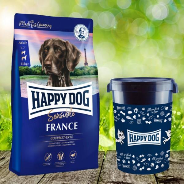 Happy Dog Sensible France inkl. Happy Dog Futtertonne 43 Liter