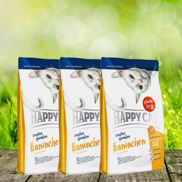 Happy Cat Sensitive Grainfree Kaninchen 3 x 4 kg