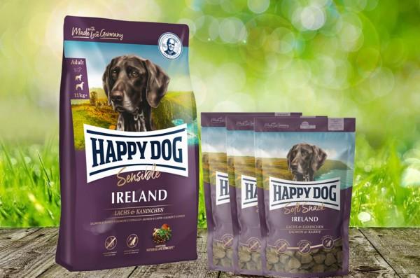 Happy Dog Supreme Ireland 12,5 kg + 3 x 100 g. Happy Dog Soft Snack Ireland geschenkt