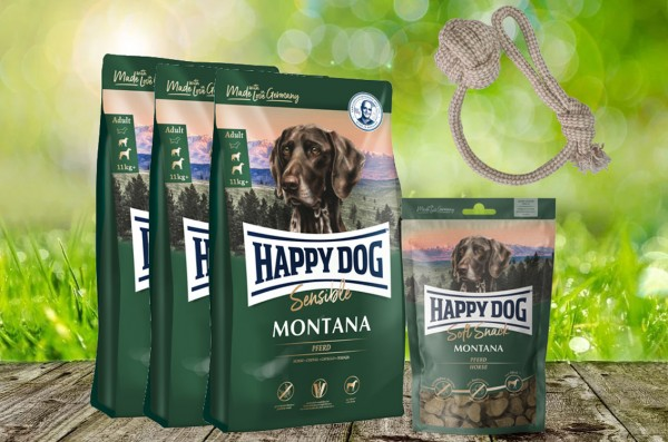 Happy Dog Supreme Montana 3 x 4 kg + 1 x 100 g. Happy Dog Soft Snack Montana + Hundewurfball geschen