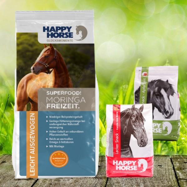 "Happy Horse Superfood ""Moringa Freizeit"" 14 kg + 2 x 1 Kg Happy Horse Lecker Snack"