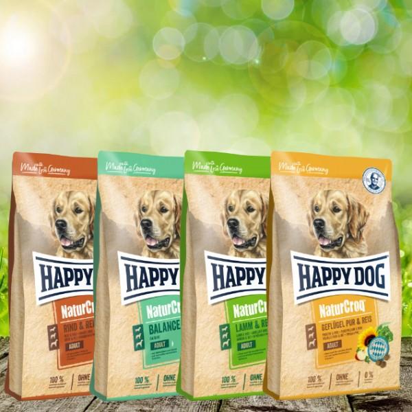 NaturCroq Hundefutter 4 x 4 kg Sortiert - Rind & Reis, Balance, Lamm & Reis, Geflügel & Reis