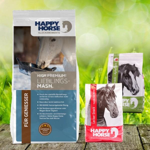 "Happy Horse High Premium ""Lieblings Mash"" 14 kg + 2 x 1 Kg Happy Horse Lecker Snack"