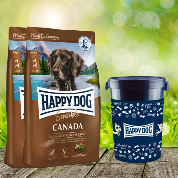 Happy Dog Supreme Sensible Canada 2 x 12,5 kg inkl. Happy Dog Futtertonne 43 Liter